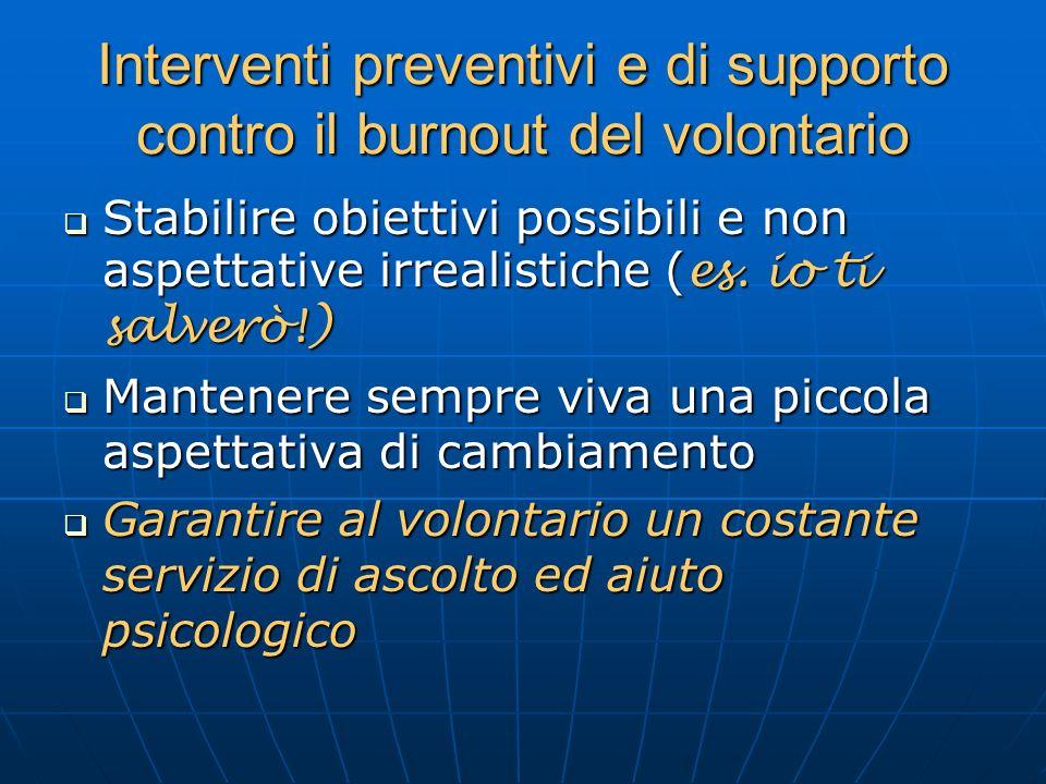 Interventi preventivi e di supporto contro il burnout del volontario