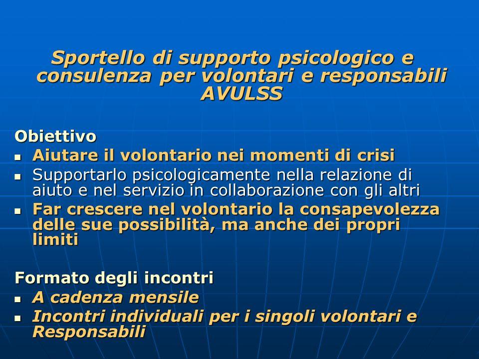 Sportello di supporto psicologico e consulenza per volontari e responsabili AVULSS