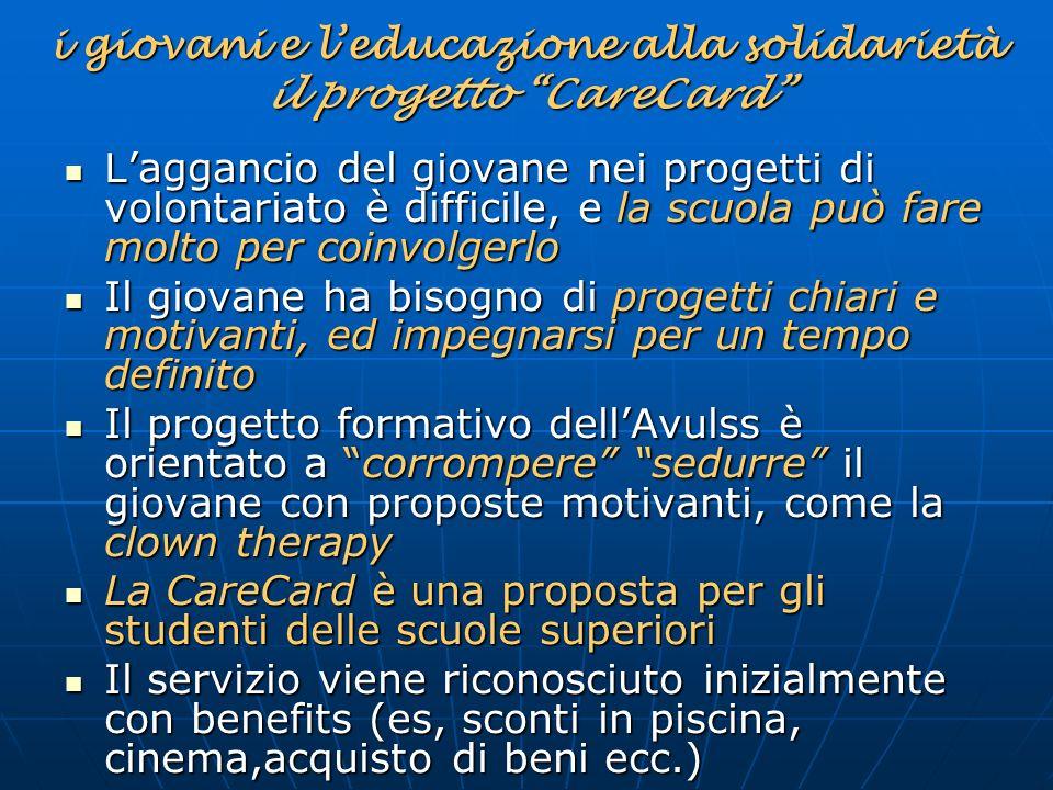 i giovani e l'educazione alla solidarietà il progetto CareCard