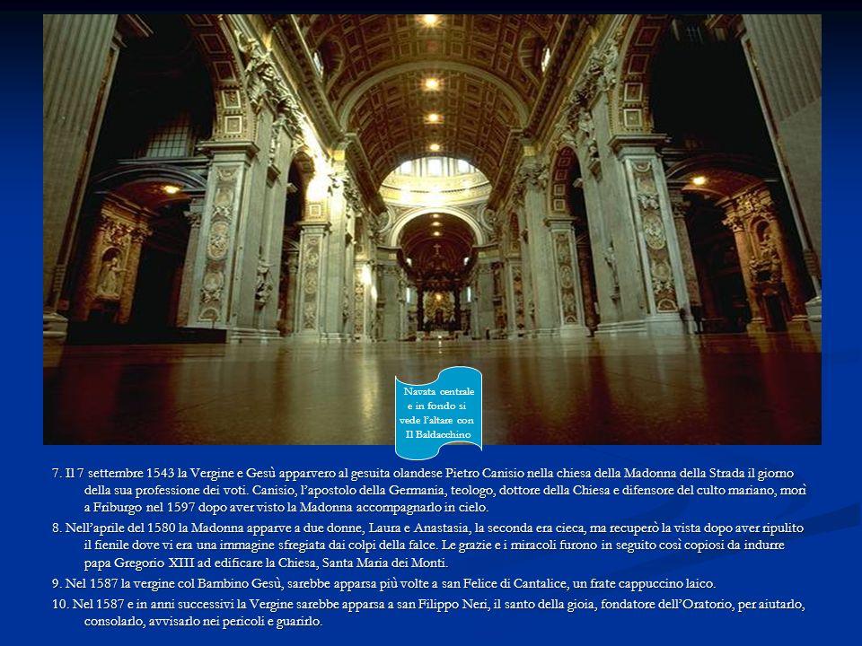 Navata centrale e in fondo si. vede l'altare con. Il Baldacchino.