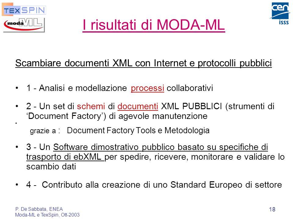 I risultati di MODA-MLScambiare documenti XML con Internet e protocolli pubblici. 1 - Analisi e modellazione processi collaborativi.