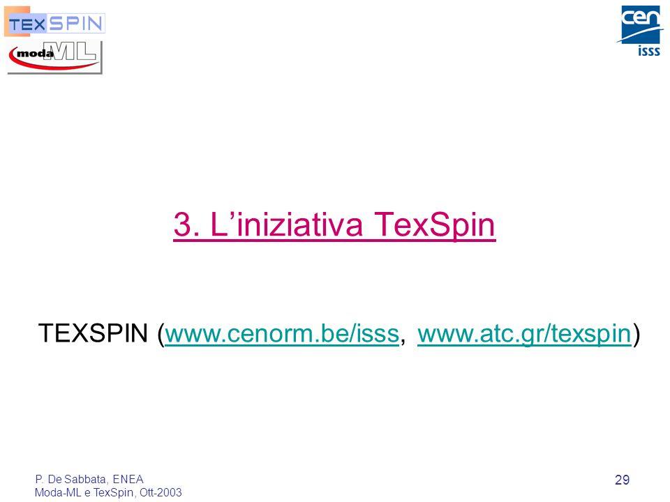 3.L'iniziativa TexSpinTEXSPIN (www.cenorm.be/isss, www.atc.gr/texspin) P.