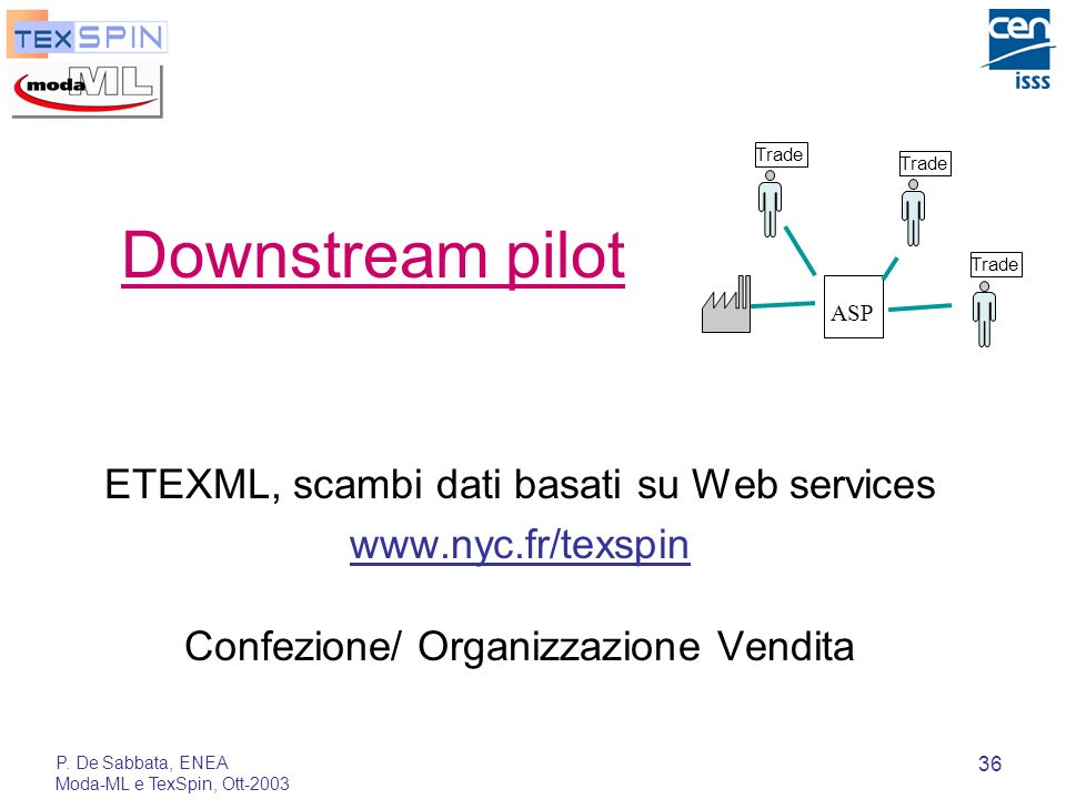 Downstream pilot ETEXML, scambi dati basati su Web services