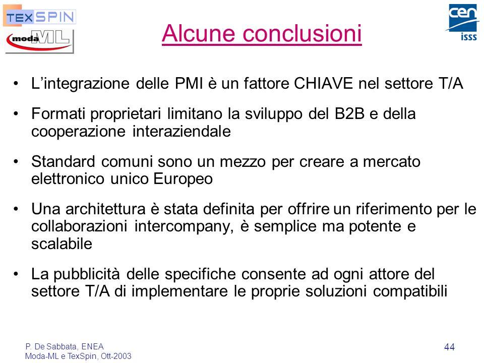 Alcune conclusioniL'integrazione delle PMI è un fattore CHIAVE nel settore T/A.