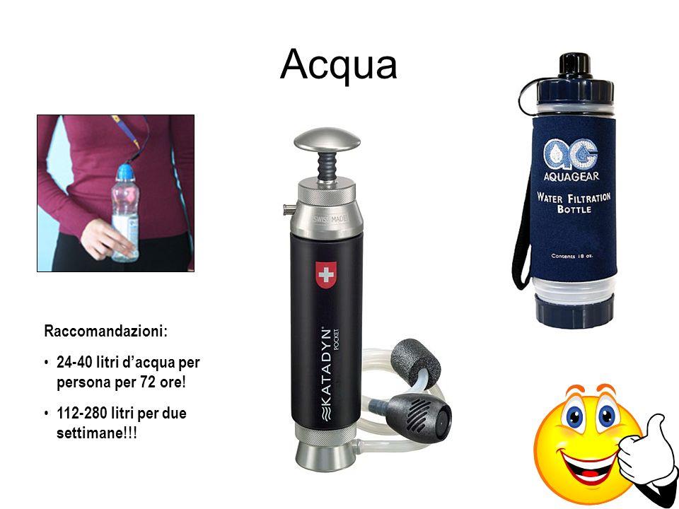 Acqua Raccomandazioni: 24-40 litri d'acqua per persona per 72 ore!