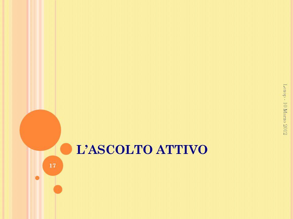 L'ASCOLTO ATTIVO Lexop - 10 Marzo 2012 Lexop - 10 MArzo 2012