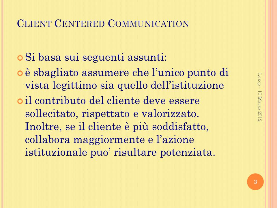 Client Centered Communication