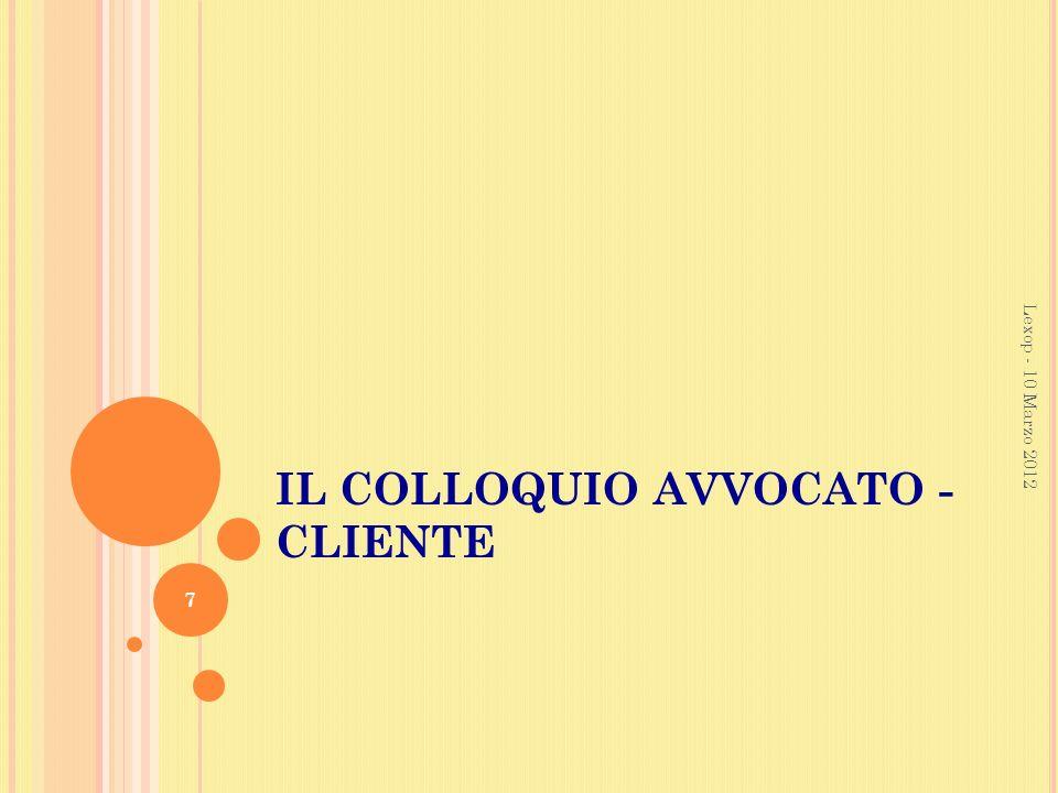 IL COLLOQUIO AVVOCATO - CLIENTE