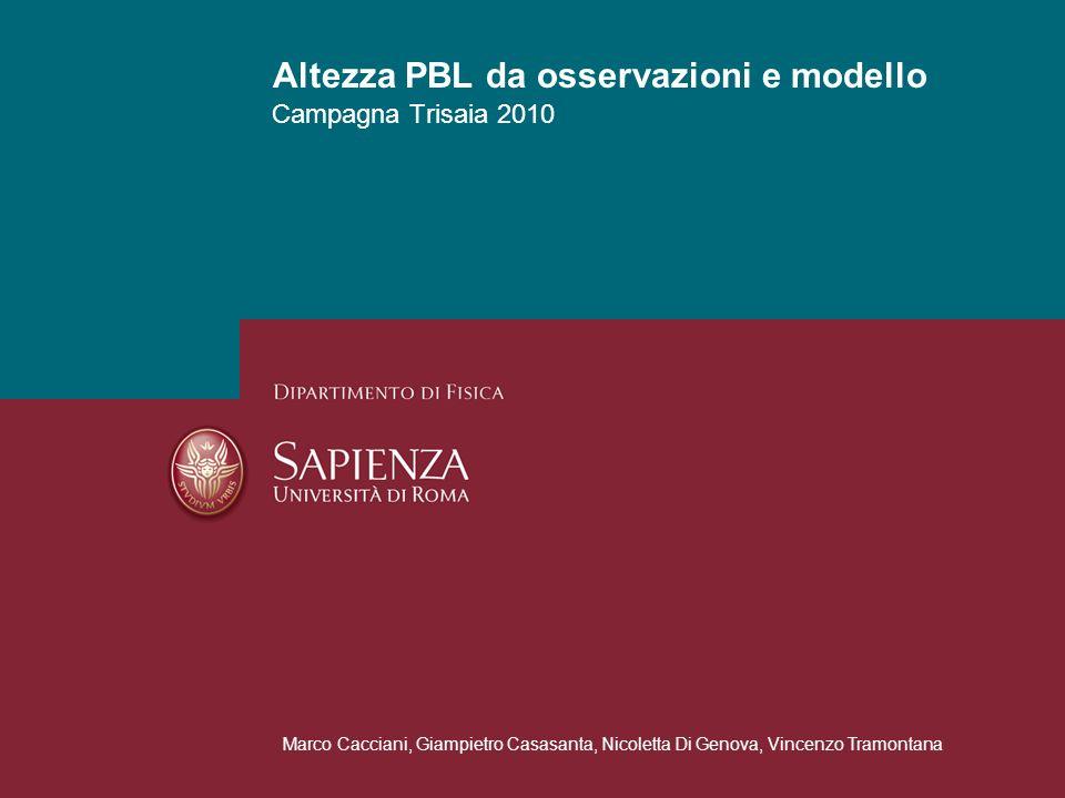 Altezza PBL da osservazioni e modello