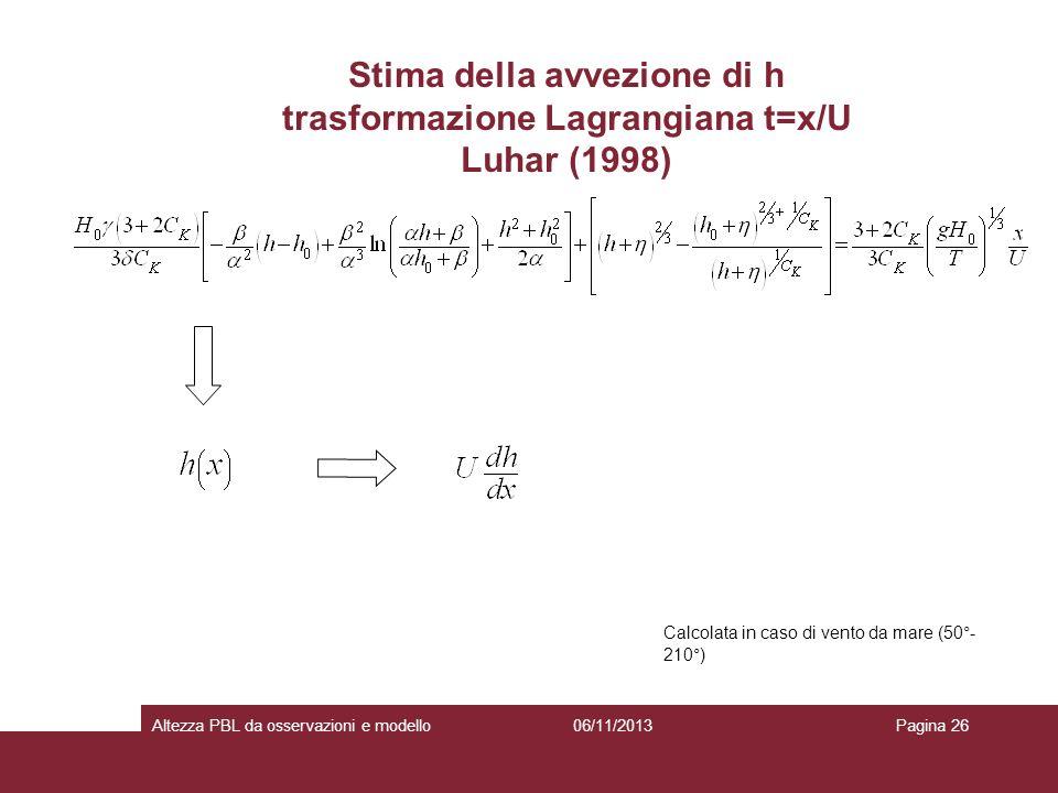 Stima della avvezione di h trasformazione Lagrangiana t=x/U Luhar (1998)