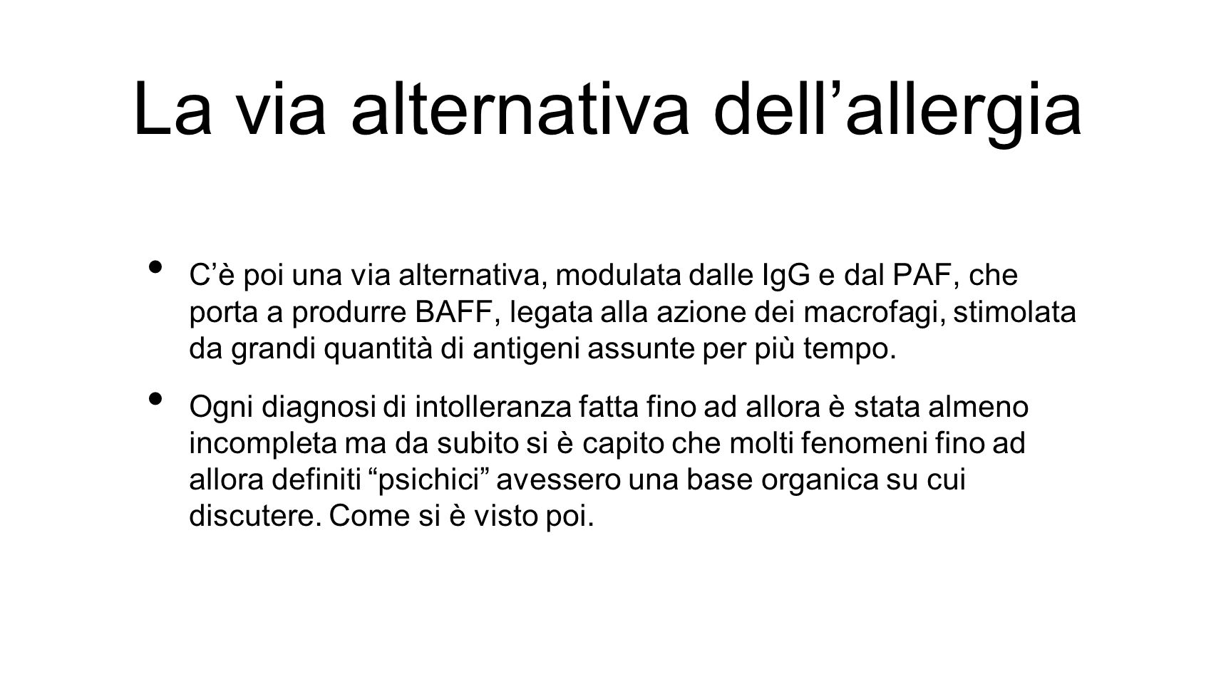 La via alternativa dell'allergia