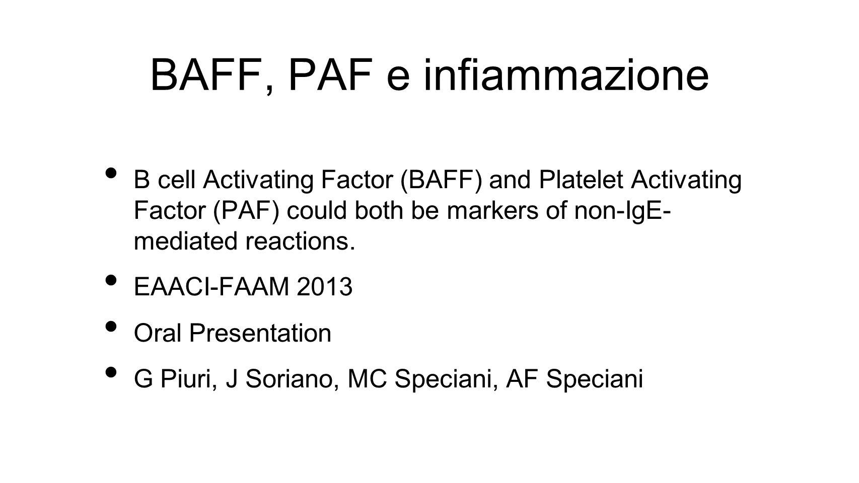 BAFF, PAF e infiammazione