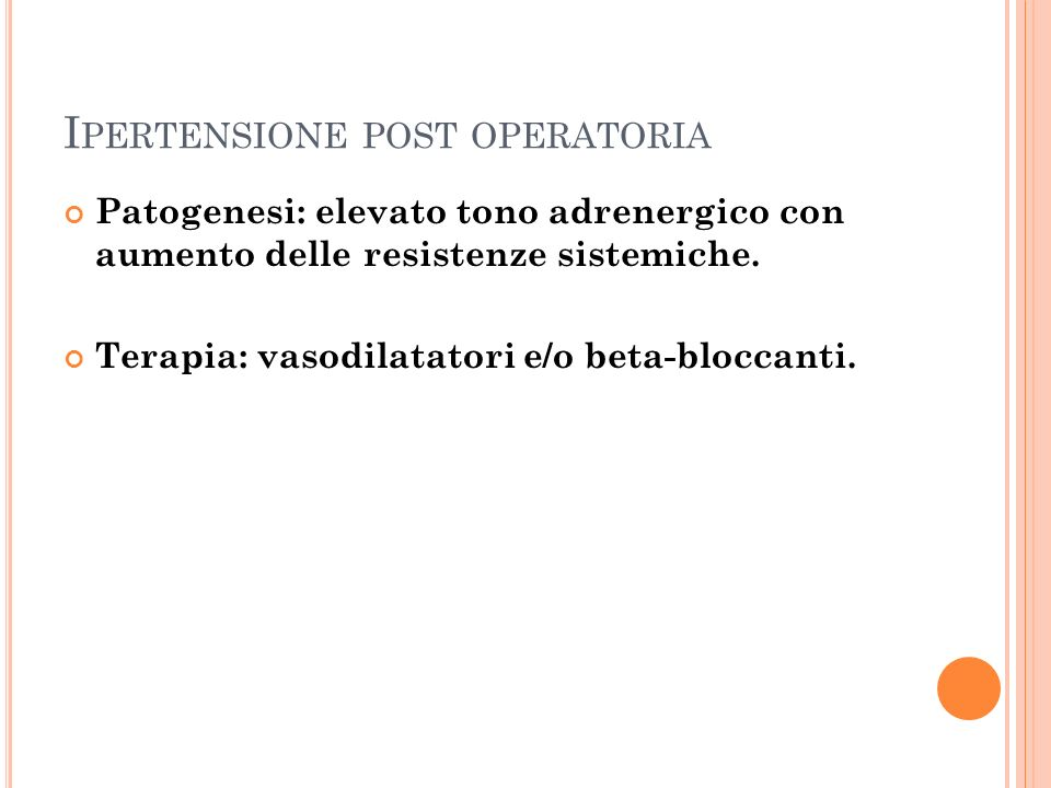 Ipertensione post operatoria