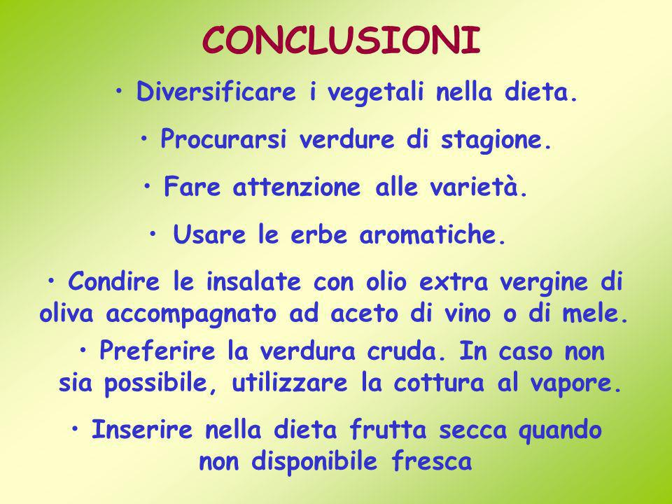 CONCLUSIONI Diversificare i vegetali nella dieta.