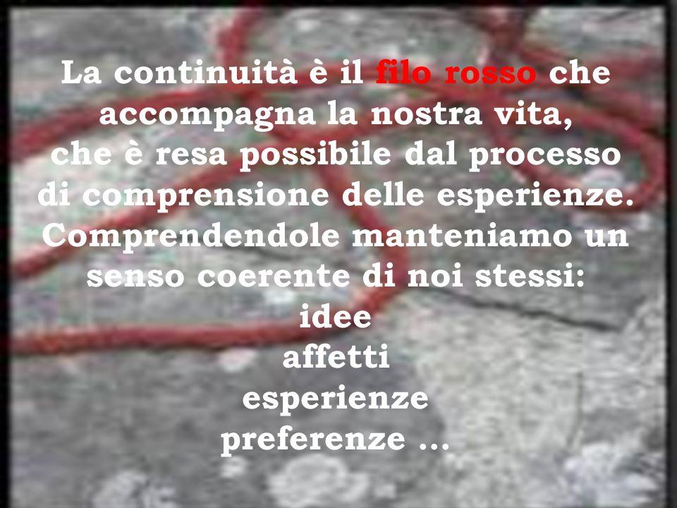 La continuità è il filo rosso che accompagna la nostra vita, che è resa possibile dal processo di comprensione delle esperienze.