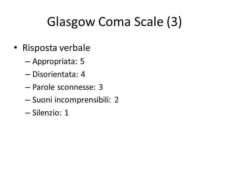 Glasgow Coma Scale (3) Risposta verbale Appropriata: 5 Disorientata: 4