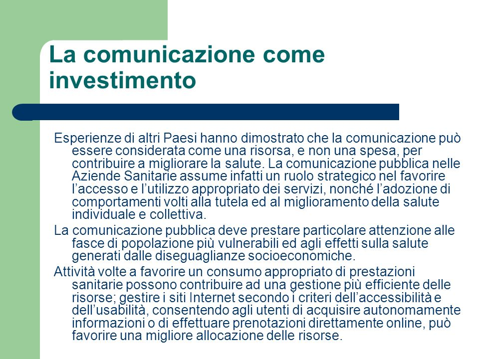 La comunicazione come investimento