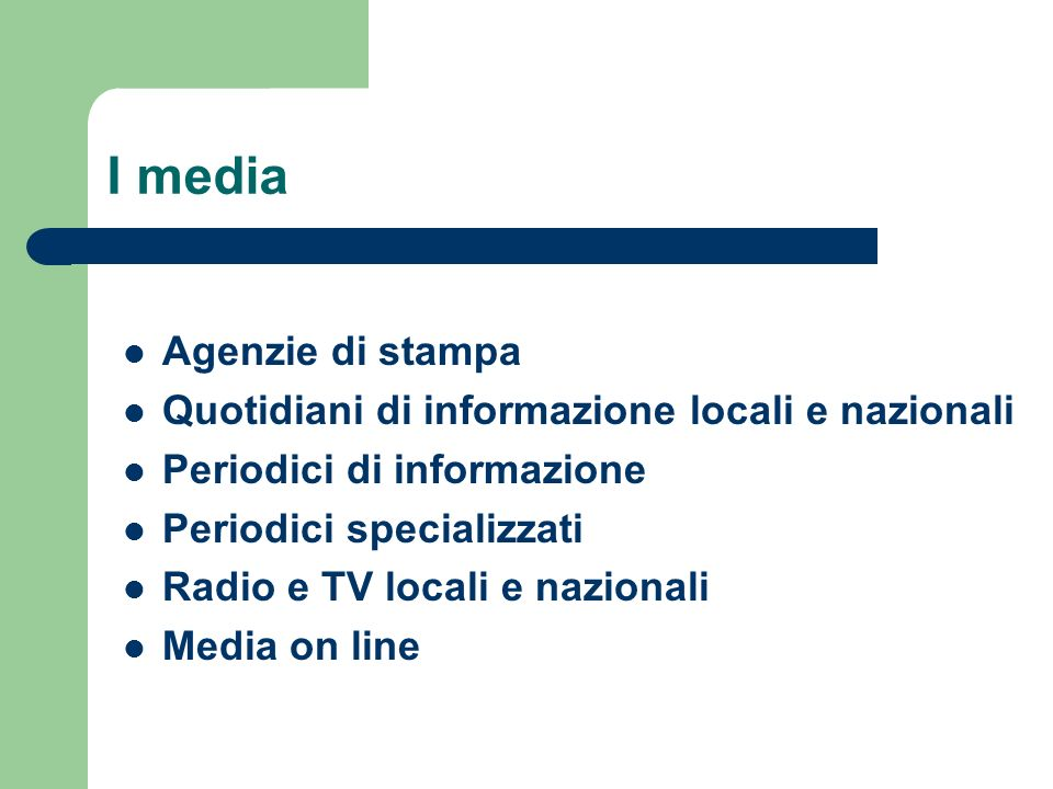 I media Agenzie di stampa