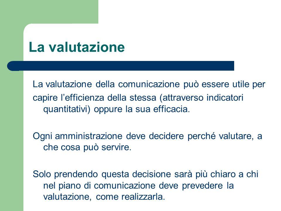 La valutazione La valutazione della comunicazione può essere utile per