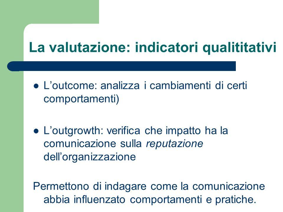 La valutazione: indicatori qualititativi