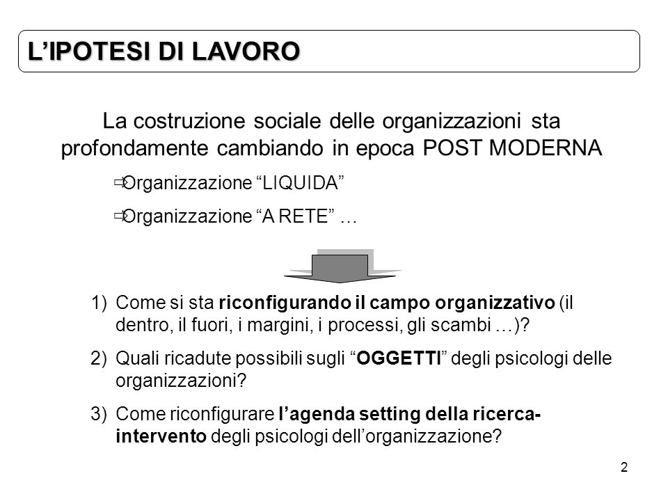 L'IPOTESI DI LAVOROLa costruzione sociale delle organizzazioni sta profondamente cambiando in epoca POST MODERNA.