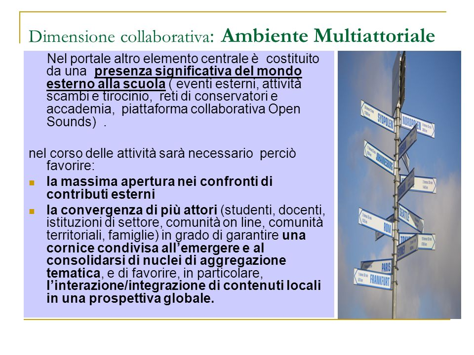 Dimensione collaborativa: Ambiente Multiattoriale