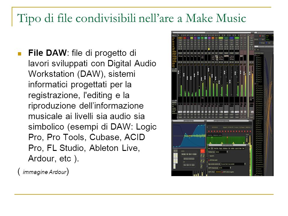 Tipo di file condivisibili nell'are a Make Music