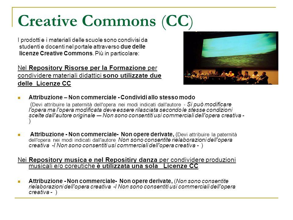 Creative Commons (CC)I prodotti e i materiali delle scuole sono condivisi da. studenti e docenti nel portale attraverso due delle.