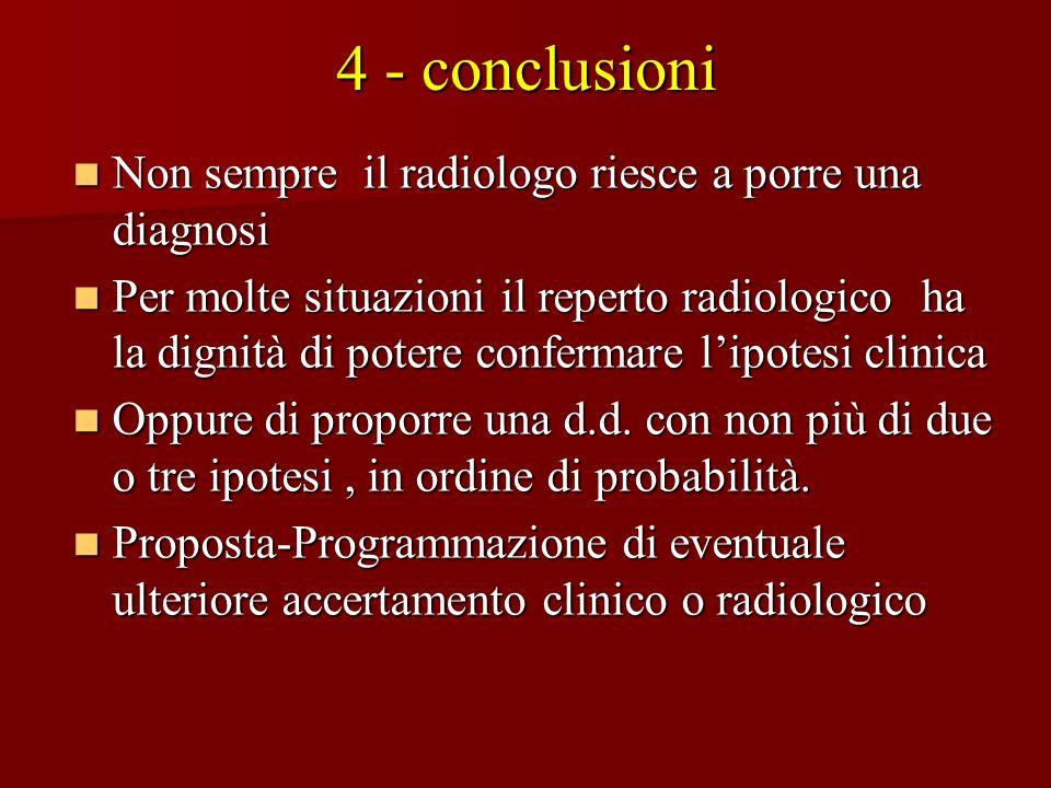 4 - conclusioni Non sempre il radiologo riesce a porre una diagnosi