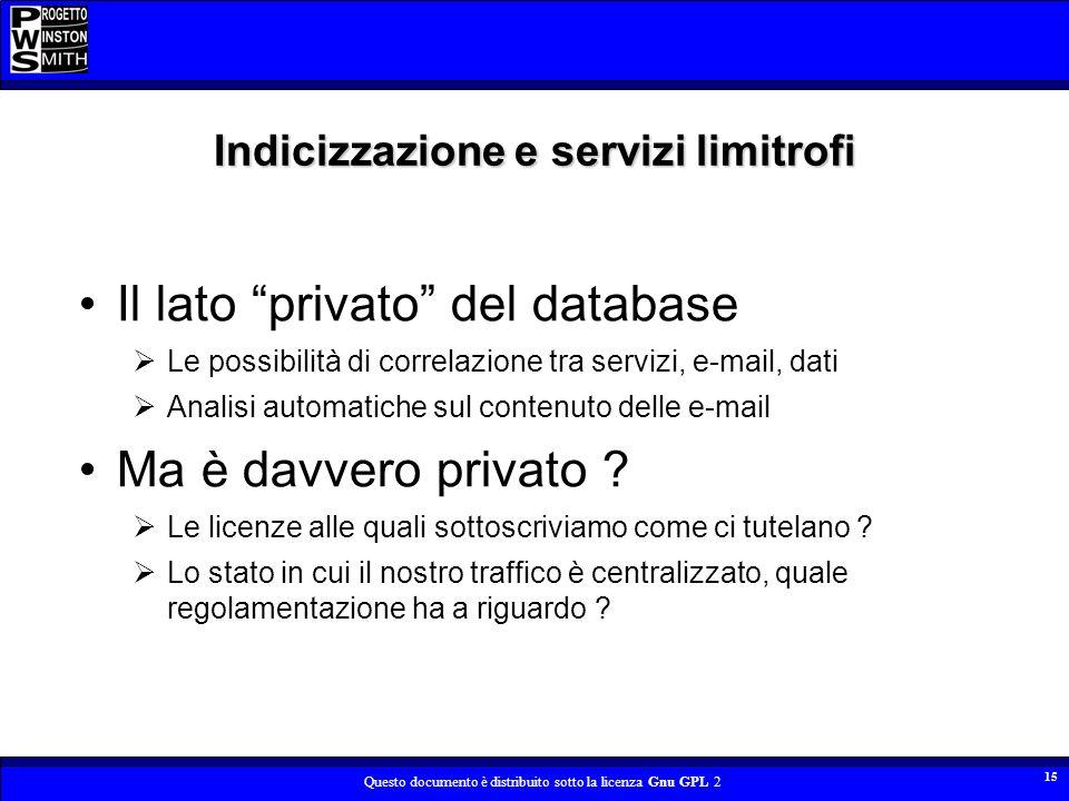 Indicizzazione e servizi limitrofi