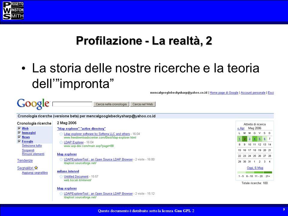 Profilazione - La realtà, 2
