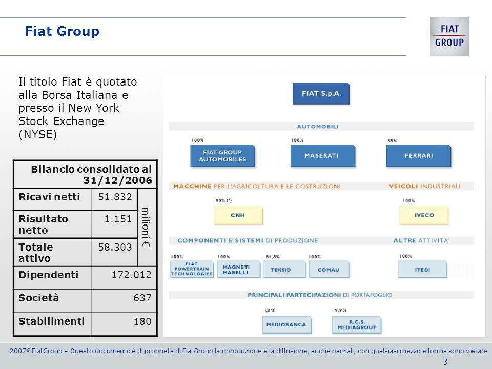Fiat Group Il titolo Fiat è quotato alla Borsa Italiana e presso il New York Stock Exchange (NYSE) Bilancio consolidato al 31/12/2006.