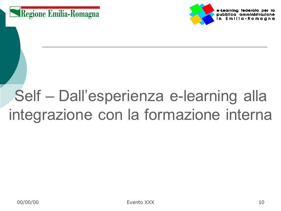 Self – Dall'esperienza e-learning alla integrazione con la formazione interna