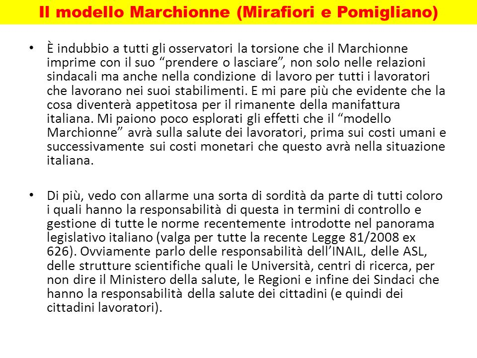 Il modello Marchionne (Mirafiori e Pomigliano)