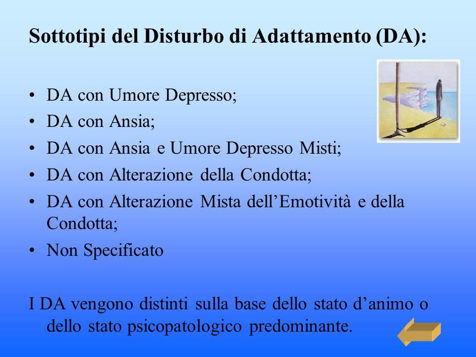 Sottotipi del Disturbo di Adattamento (DA):