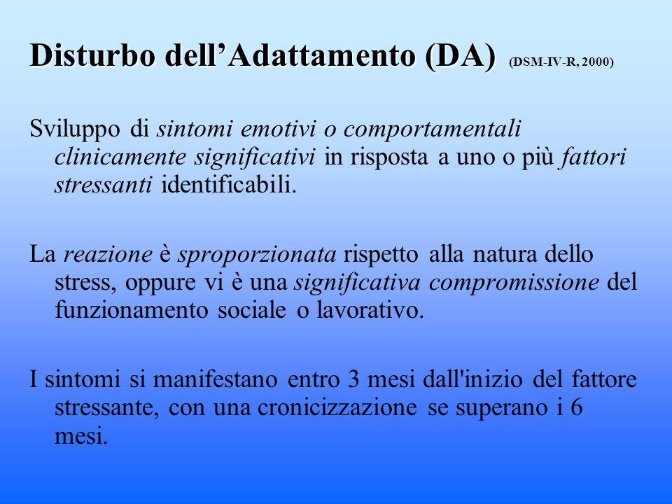Disturbo dell'Adattamento (DA) (DSM-IV-R, 2000)