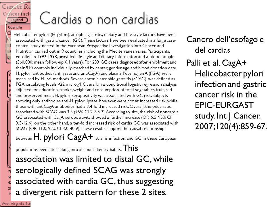 Cardias o non cardias Cancro dell'esofago e del cardias