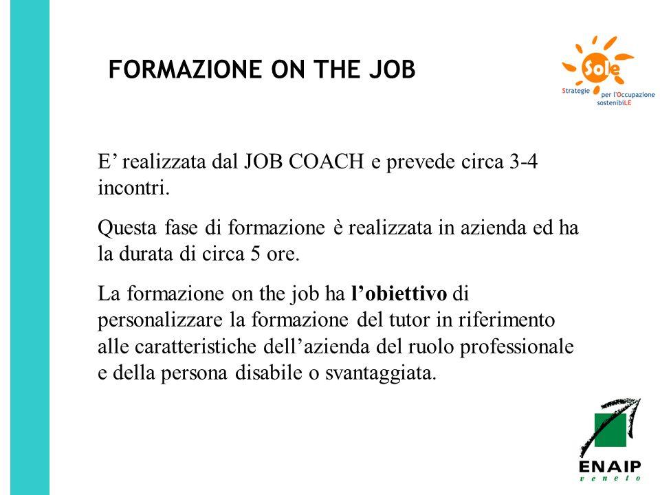 FORMAZIONE ON THE JOB E' realizzata dal JOB COACH e prevede circa 3-4 incontri.