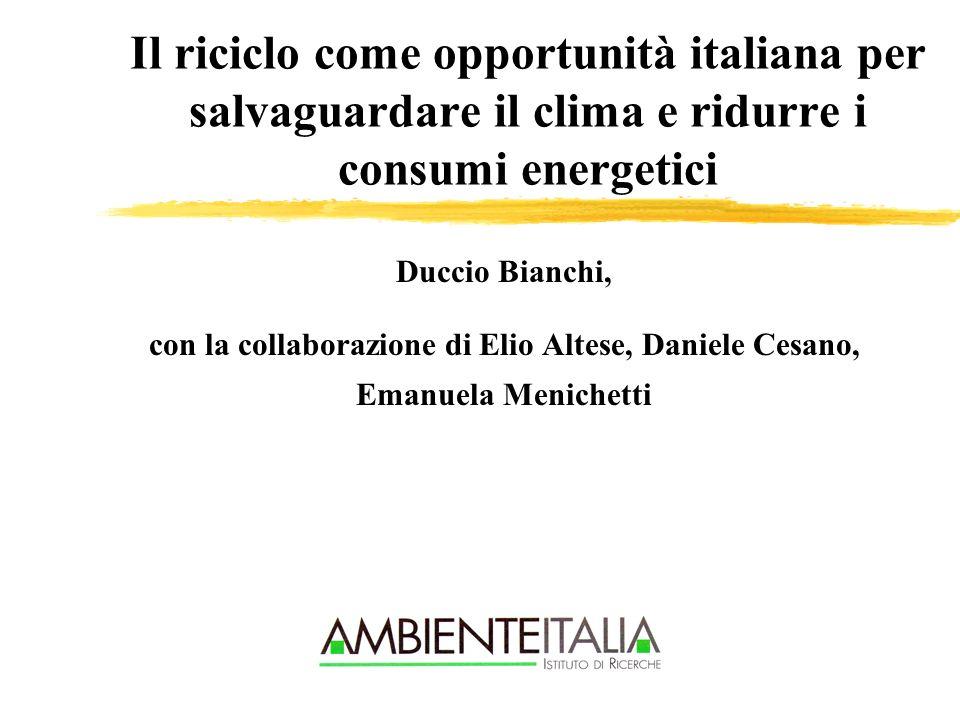 Il riciclo come opportunità italiana per salvaguardare il clima e ridurre i consumi energetici