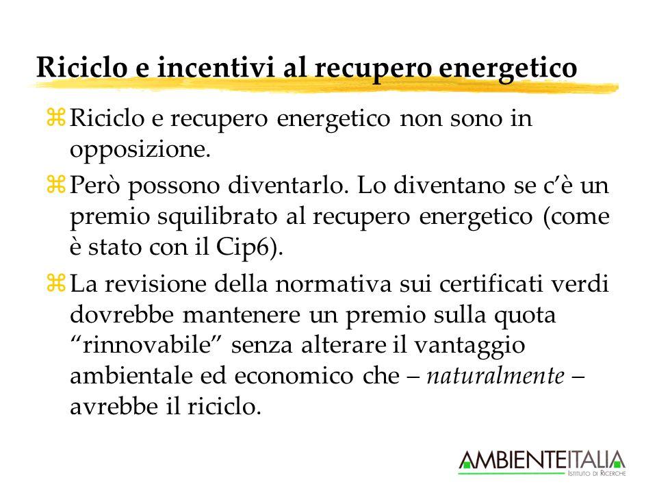 Riciclo e incentivi al recupero energetico