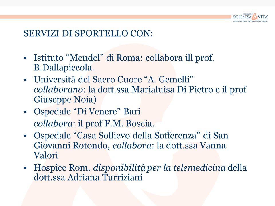 SERVIZI DI SPORTELLO CON: