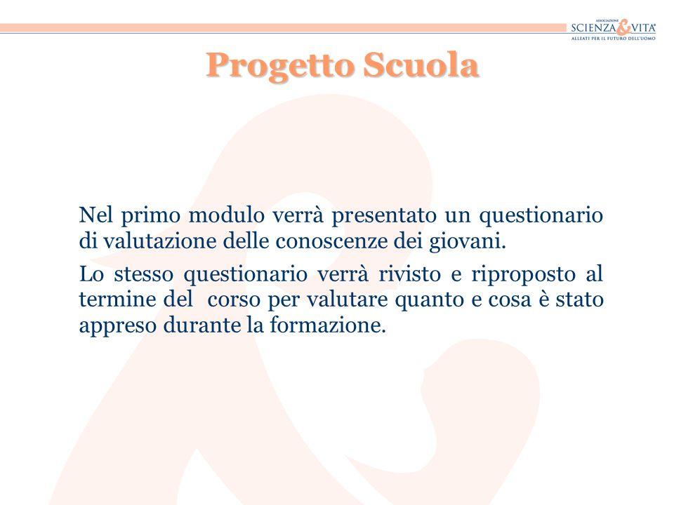 Progetto Scuola Nel primo modulo verrà presentato un questionario di valutazione delle conoscenze dei giovani.