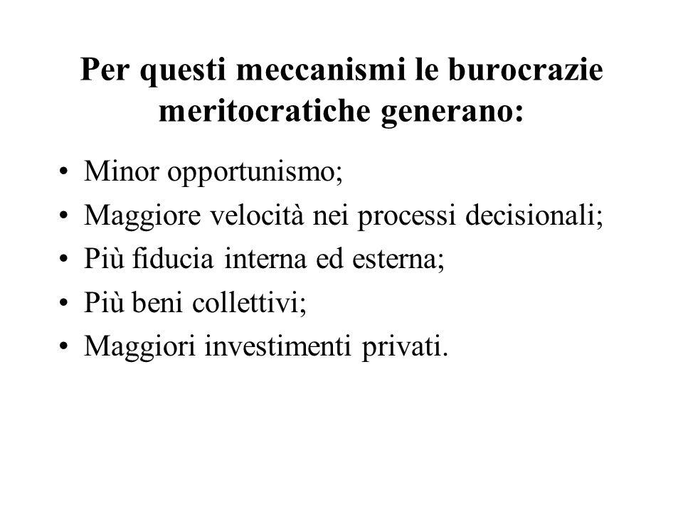 Per questi meccanismi le burocrazie meritocratiche generano: