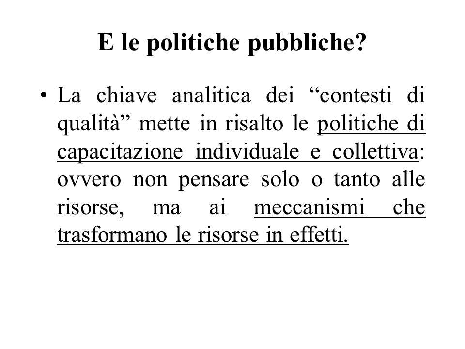E le politiche pubbliche