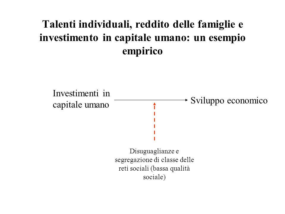 Talenti individuali, reddito delle famiglie e investimento in capitale umano: un esempio empirico