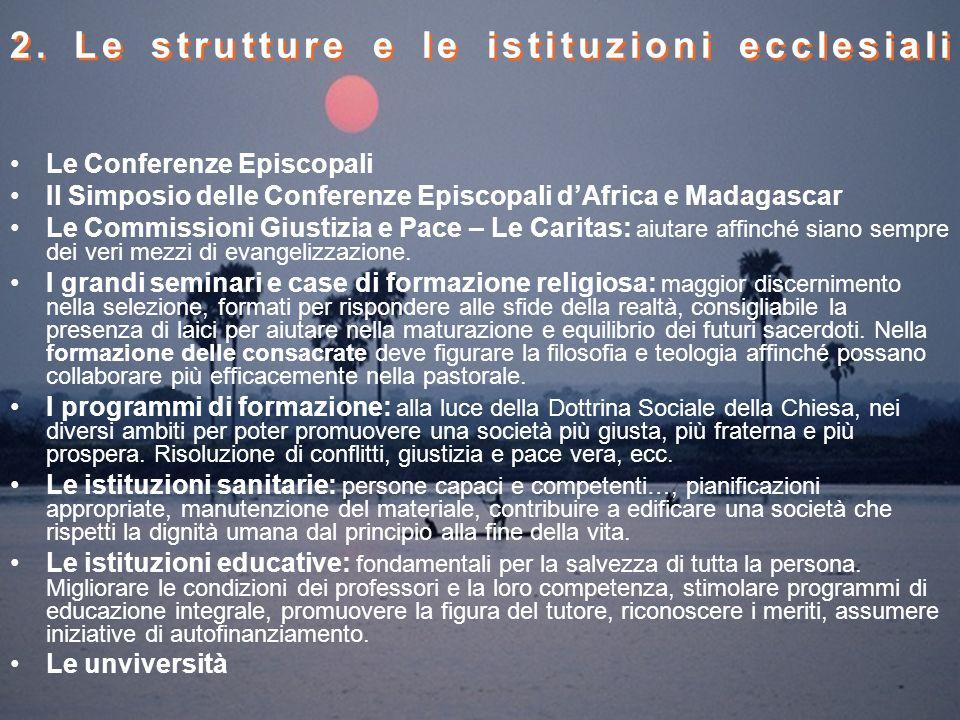 2. Le strutture e le istituzioni ecclesiali