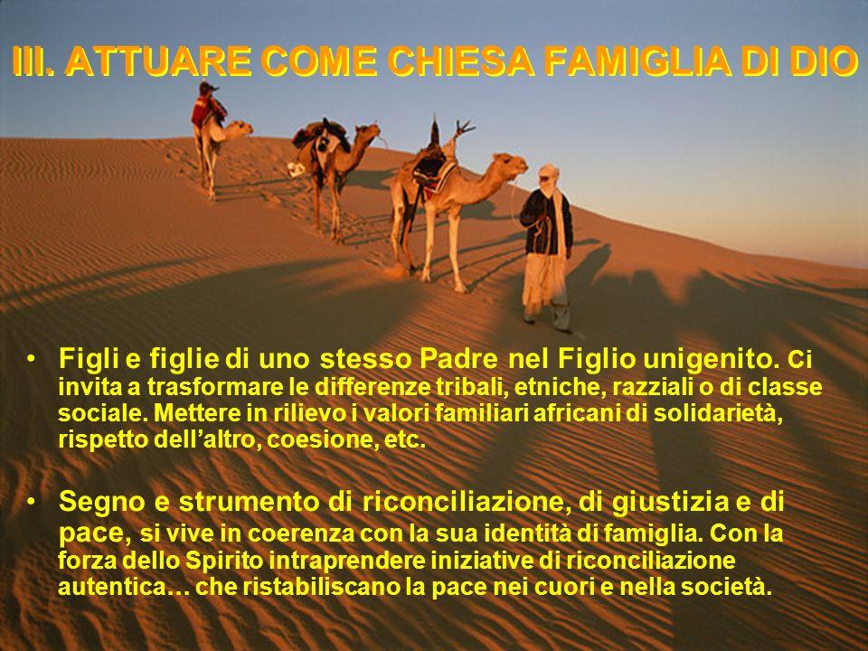 III. ATTUARE COME CHIESA FAMIGLIA DI DIO