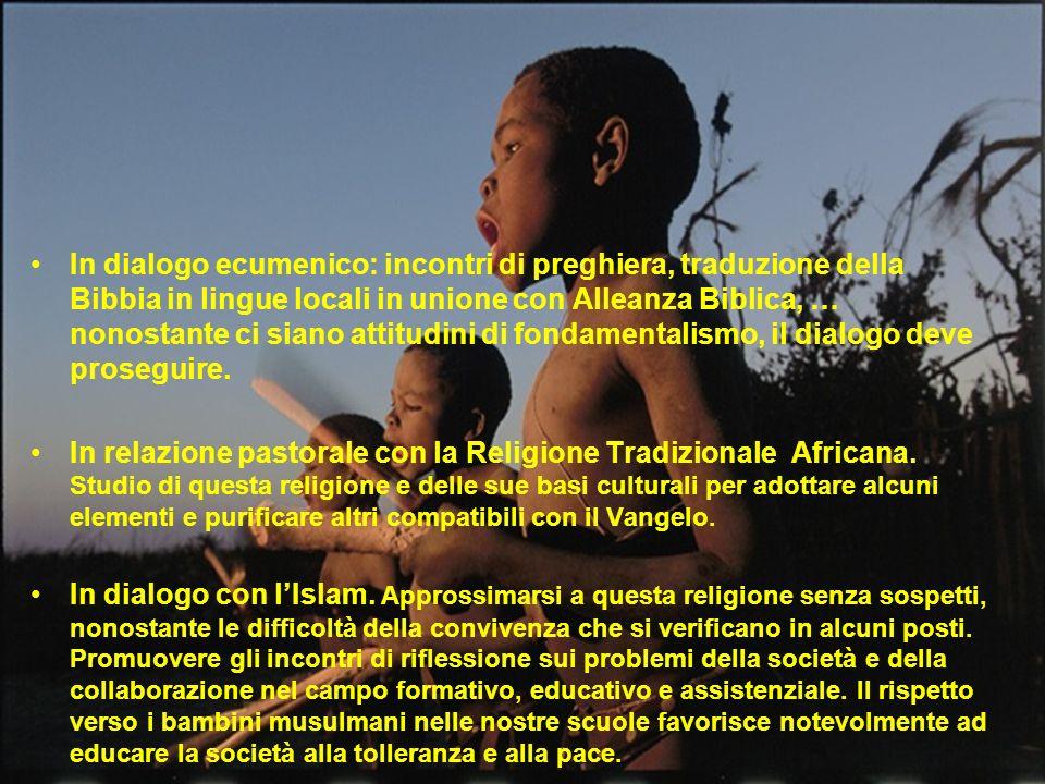 In dialogo ecumenico: incontri di preghiera, traduzione della Bibbia in lingue locali in unione con Alleanza Biblica, … nonostante ci siano attitudini di fondamentalismo, il dialogo deve proseguire.