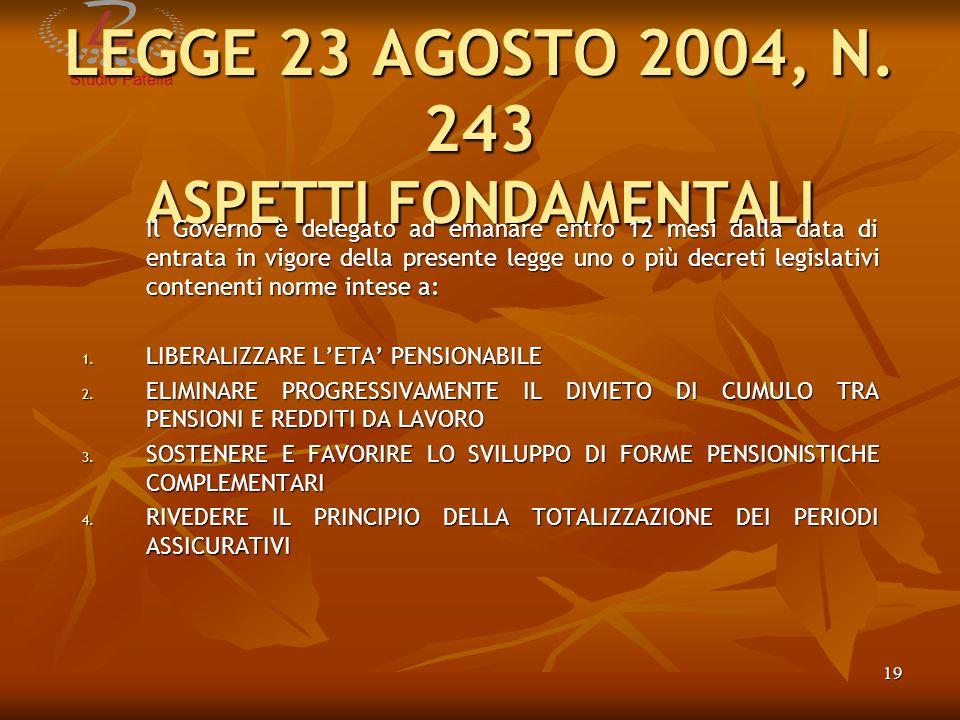 LEGGE 23 AGOSTO 2004, N. 243 ASPETTI FONDAMENTALI