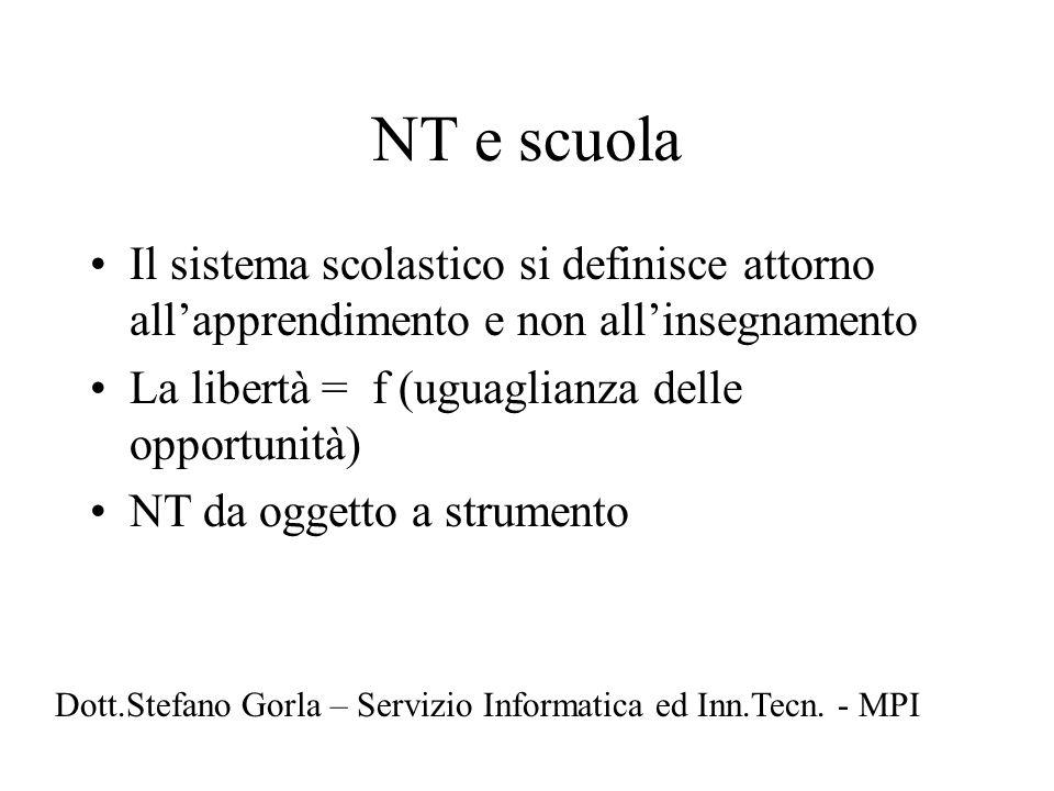 NT e scuola Il sistema scolastico si definisce attorno all'apprendimento e non all'insegnamento. La libertà = f (uguaglianza delle opportunità)